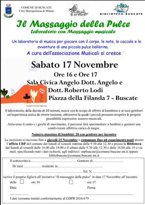 IL MASSAGGIO DELLA PULCE – LABORATORIO CON MASSAGGIO MUSICALE PER BAMBINI 0 – 3 ANNI – SABATO 17 NOVEMBRE